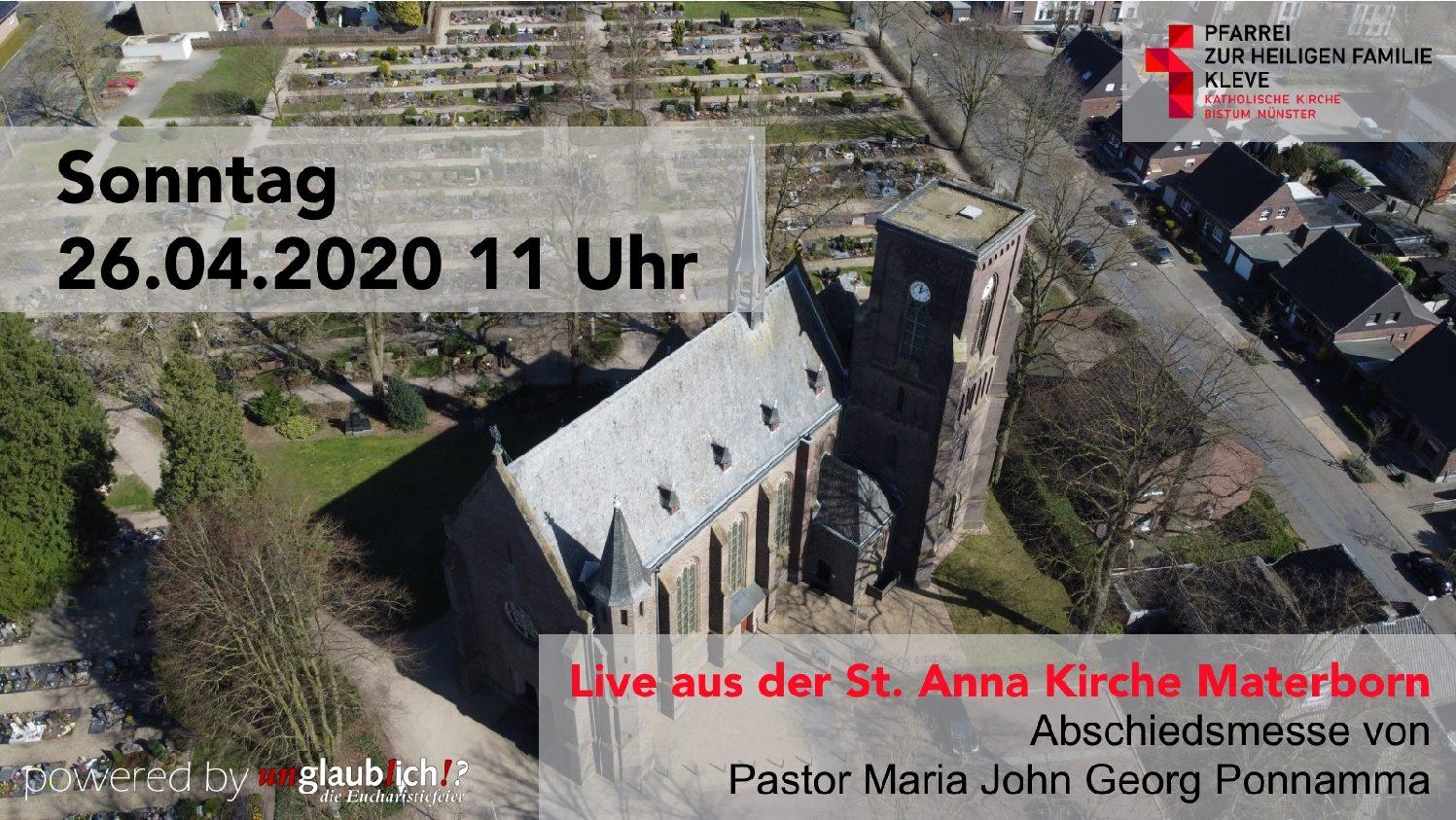 Live aus der St. Anna Kirche Materborn: Abschiedsmesse von Pastor Maria John