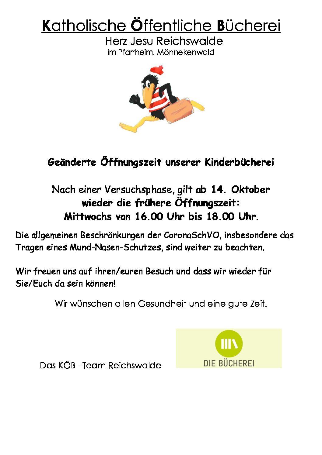 Öffnungszeiten KÖB Reichswalde