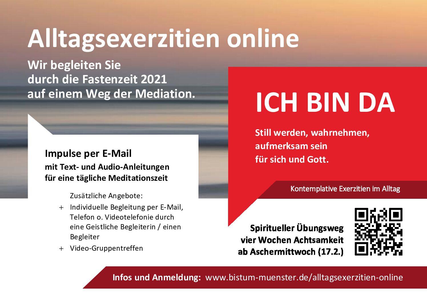 Mit Meditation durch die Fastenzeit – Alltagsexerzitien online 'Ich bin da'