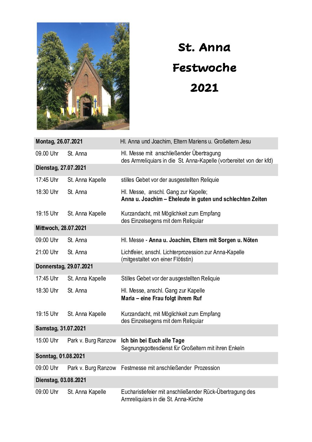 St. Anna-Fest 2021